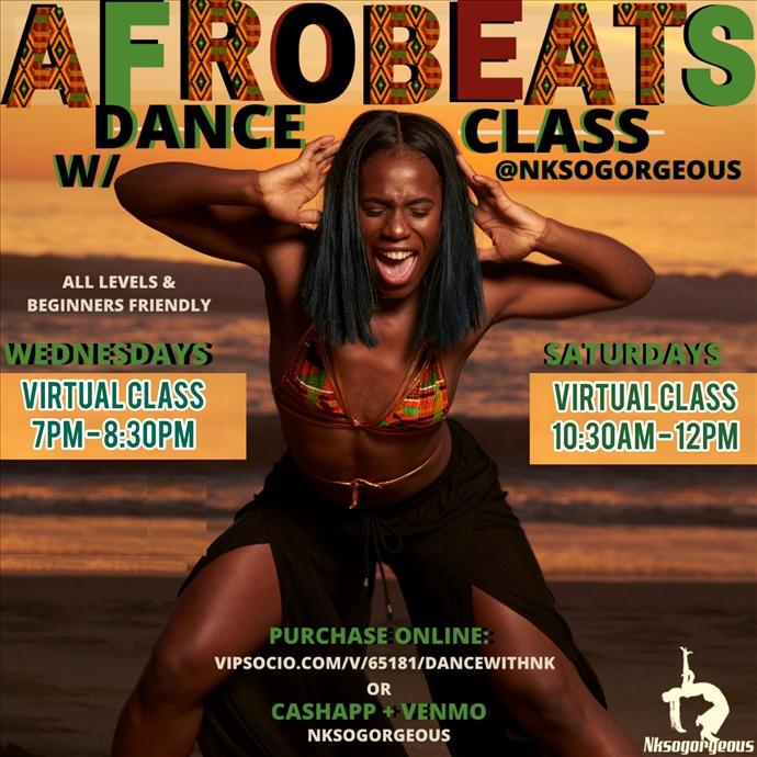 Afrobeats Wednesday Dance Class w/ Nk - Virtual