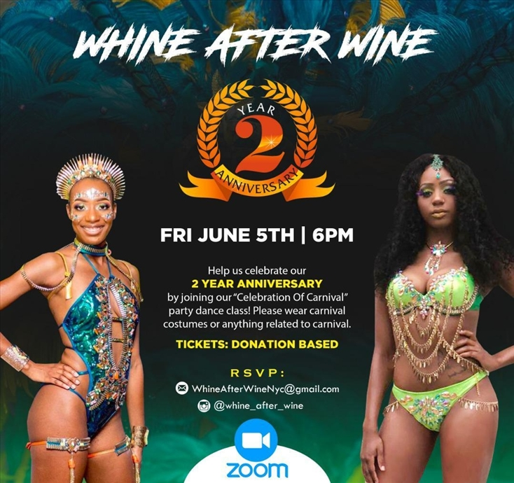 "Whine After Wine 2 Year Anniversary: ""Celebration of Carnival"" Party Dance Class"