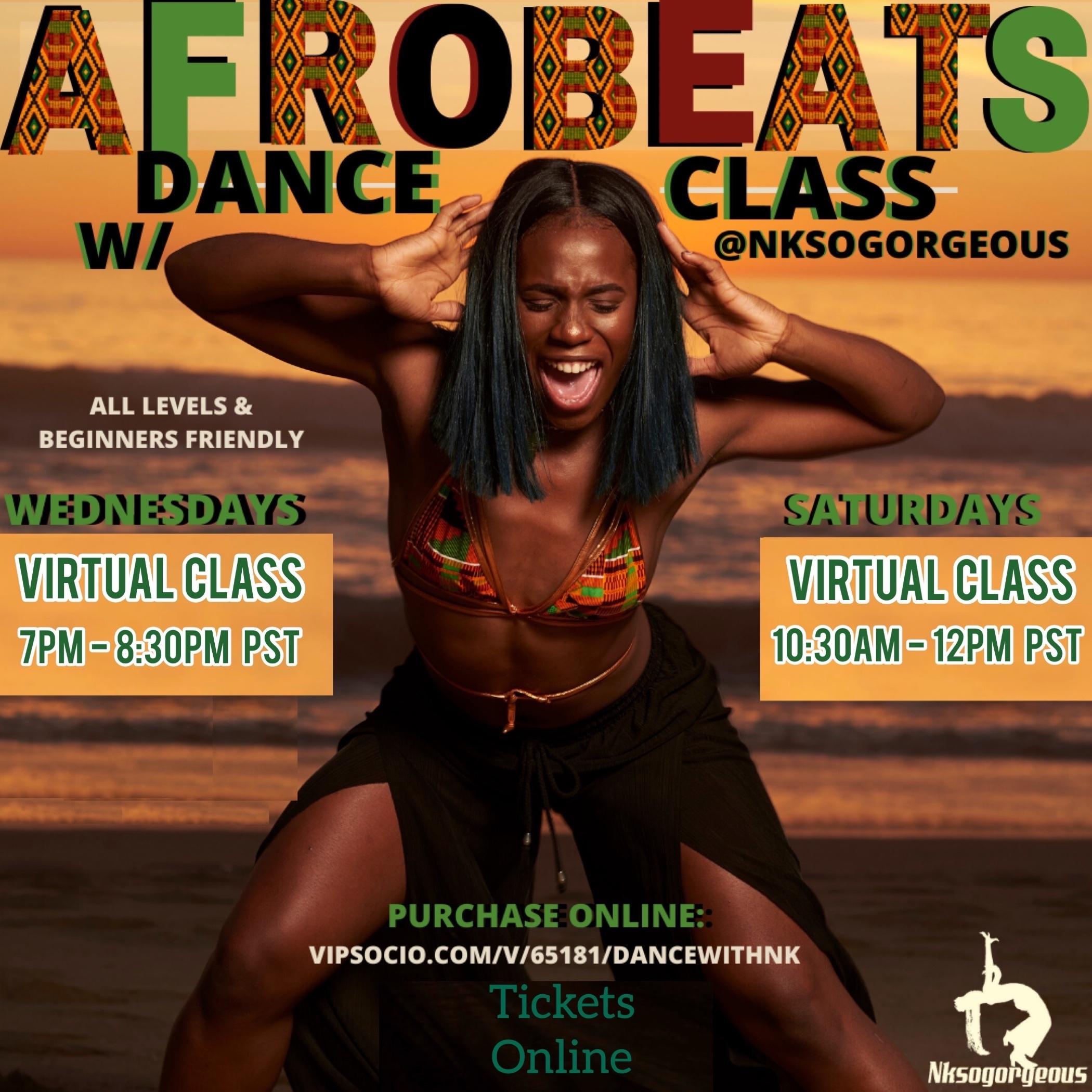 Afrobeat Saturday Dance Class w/ Nk - Virtual