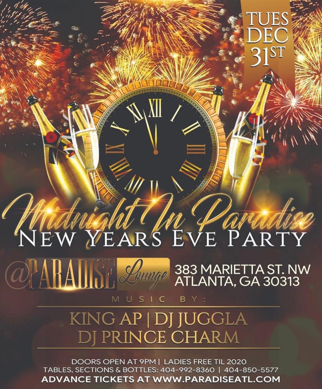 Paradise Atlanta NEW YEARS EVE COUNTDOWN PARTY at Atlanta ...